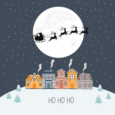 Santa Into the Winter Christmas Night. Vector illustration. Ilustracja