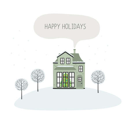 Christmas card with house, happy holidays. Vector illustration Ilustracja