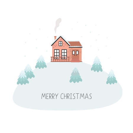 Christmas card with house, Merry Christmas. Vector illustration isolated on white background.