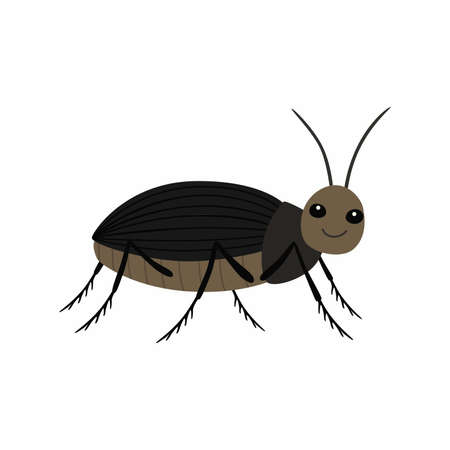 Black beetle on a white background vector illustration  イラスト・ベクター素材