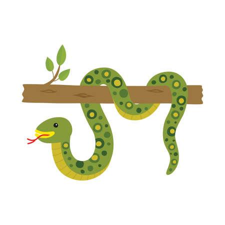 Anaconda on a tree. Vector illustration isolated.