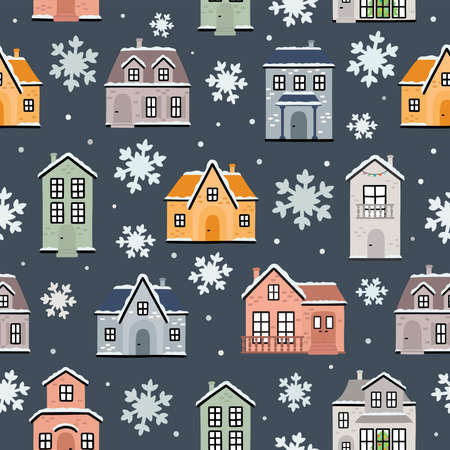 Seamless pattern of winter houses and snowflakes