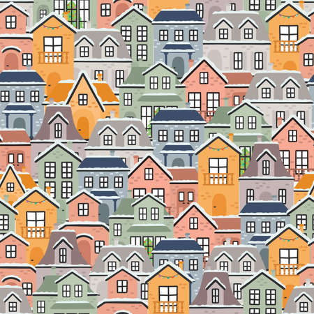 Vector seamless pattern with colorful houses. EPS10  イラスト・ベクター素材