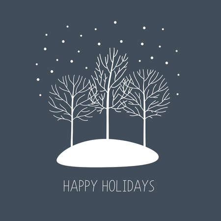 Vector card with hand drawn winter trees under the snow. Happy holidays