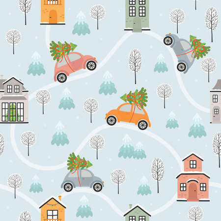 Seamless pattern with houses and cars in winter time. Vector illustration  イラスト・ベクター素材