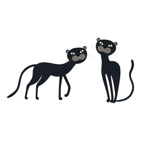 Cute cartoon set Black Panther isolated on white background