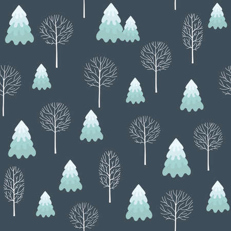 Winter seamless Christmas pattern for design packaging paper, postcard, textiles. The pattern with the image of fir-trees, trees, covered with snow  イラスト・ベクター素材