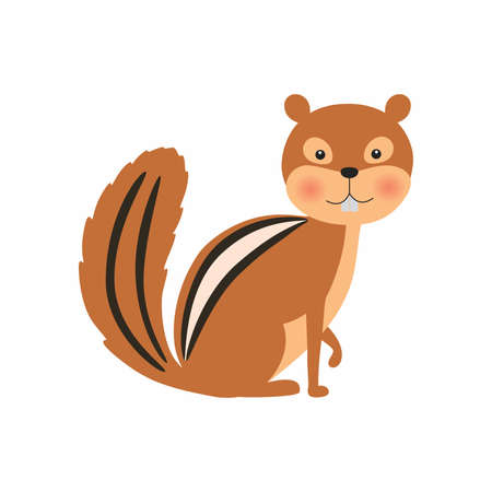 Cartoon chipmunk. Vector illustration isolated on white background.