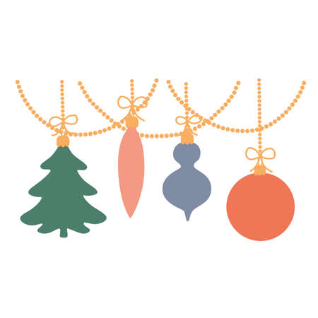 Christmas toys hang on a garland. Vector illustration isolated.  イラスト・ベクター素材
