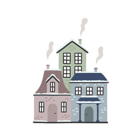 Cartoon winter houses. Vector illustration isolated on white background.  イラスト・ベクター素材