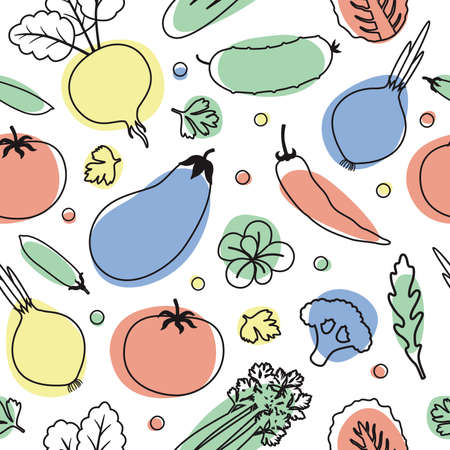 Vegetables seamless pattern. Linear graphic. Vegetables background. Healthy food pattern.