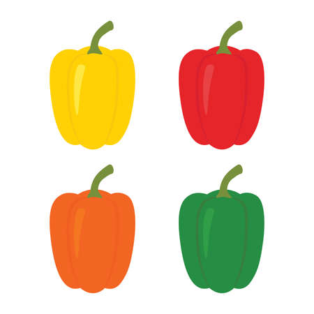 Set of four peppers. Yellow, red, orange and green pepper.