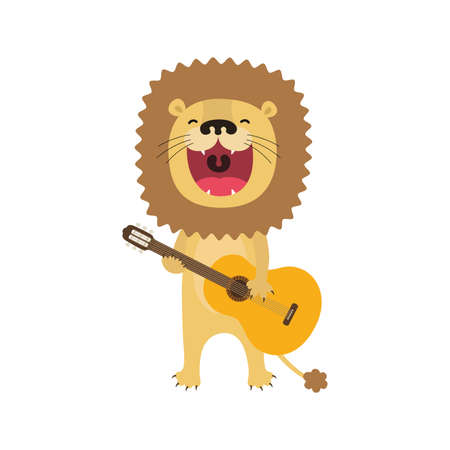 Funny lion cartoon playing guitar and sings