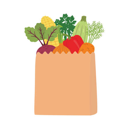 100 percent natural on a paper bag full of fresh vegetables. Concept of diet. Vector