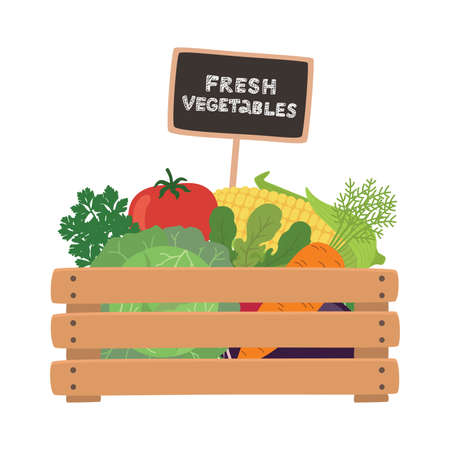 Fresh vegetables a wooden box. Vector illustration.  イラスト・ベクター素材