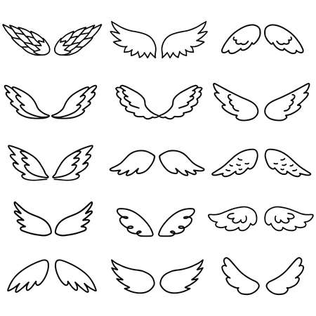 Wings icon sketch collection cartoon hand drawn vector illustration