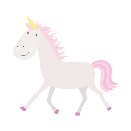 Cute little pink magical unicorn. Romantic hand drawing illustration for children. 向量圖像
