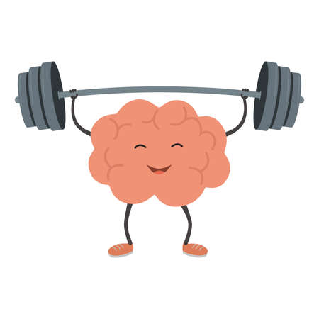 Strong powerful brain holding heavy barbell. Intelligence, mind, imagination, creativity, knowledge and education concept. Train your brain