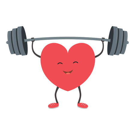 Strong heart with a barbell. Vector illustration. 向量圖像