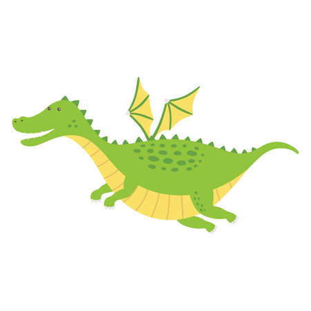 Cute fat dragon flying. Vector illustration isolated.