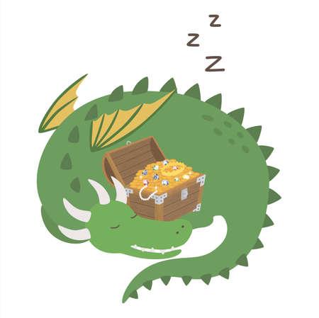 Sleeping dragon. Cute cartoon dragon guarding treasure chest. Vector illustration