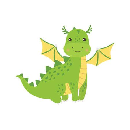 Cute cartoon green little dragon, isolated vector illustration 向量圖像