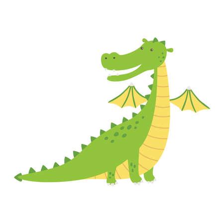 Green dragon, vector illustration in cartoon style