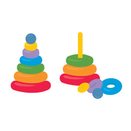 Assembled disassembled childrens colorful plastic toy. Building stack up ring tower. Early child development educational game.