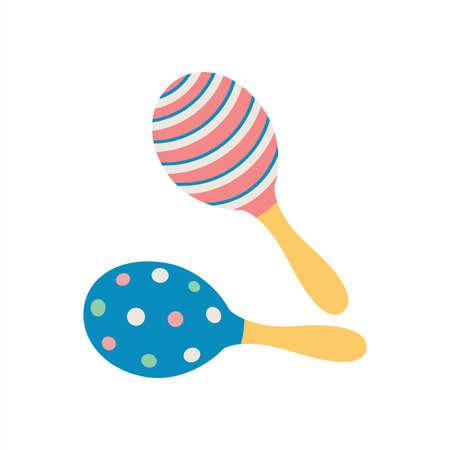 Music percussion, colorful ornamental rattle instrument. Vector cartoon illustration 向量圖像