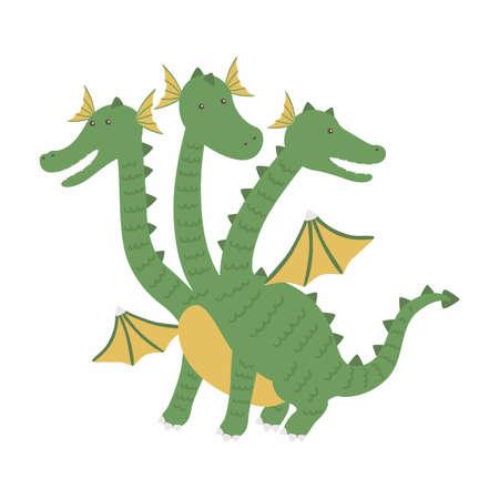 Three headed dragon ancient mythical creature cartoon vector Illustration 向量圖像