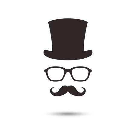 Gentleman icon. Unknown man with a mustache in the hat, glasses. 向量圖像