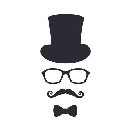 Gentleman icon. Unknown man with a mustache in the hat, glasses and bow.