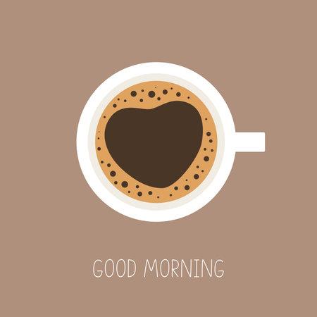 Coffee cup top view. Good morning. Love coffee