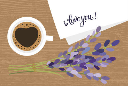 Bouquet and a cup of coffee. Lavender flowers and a cup of coffee. Coffee and a note i love you.