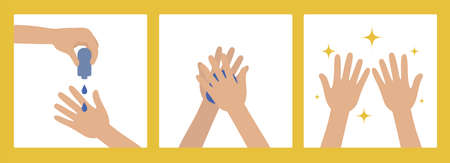 Washing Hands with Antiseptic Products. Prevention of Viruses, Germs and Infection. Cleanliness concept. 向量圖像