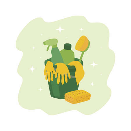A set of cleaning products. Illustration with green plastic bucket, sponge, rubber gloves and detergents. 向量圖像
