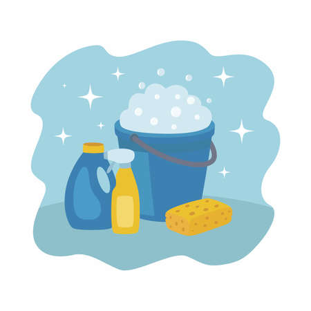 A set of cleaning products. Illustration with blue plastic bucket, sponge and detergents.