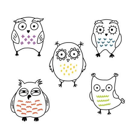 Cute comical cartoon owls hand drawn vector set