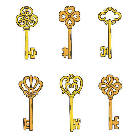 Set beautiful vintage keys. Vector illustration isolated on white background.