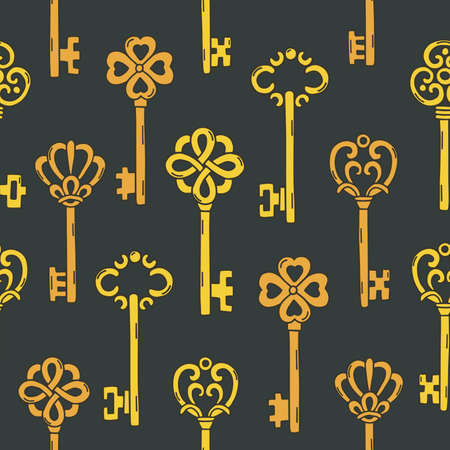 Seamless pattern with beautiful vintage key. Vector illustration.