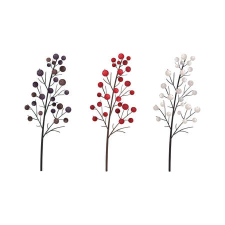 Berries on a branch. Botanical illustration. For decoration of tableware, textiles, postcards, prints on clothing, posters, notebooks