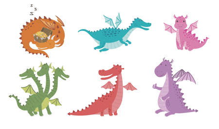 Vector set cartoon images of funny dragons of different colors and forms in different poses on a white background.