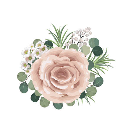Dusty pink blush, white and creamy rose flowers vector design wedding bouquets. Eucalyptus, greenery. Floral pastel watercolor style. Blooming spring floral card. 向量圖像