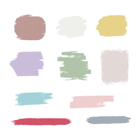 Vector set of hand drawn brush strokes, stains for backdrops. Monochrome design elements set.