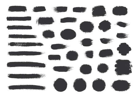 Big collection of black paint, ink brush strokes, brushes, lines. Paint background.