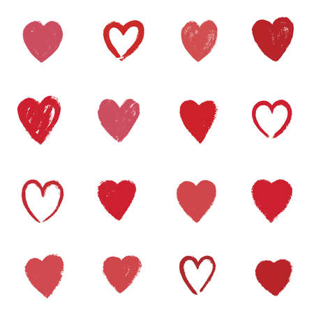 Painted hearts from grunge brush strokes. Collection of love symbols for Valentine card, banner. Distress texture design elements.
