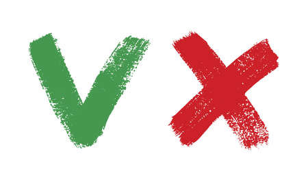 Do and Dont simple icons, freehand brush strokes. Green check mark and red cross, used to indicate rules of conduct or response versions.