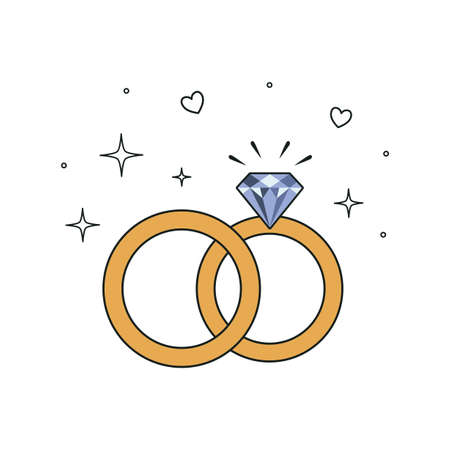 Wedding rings icon. Vector illustration isolated on white background.