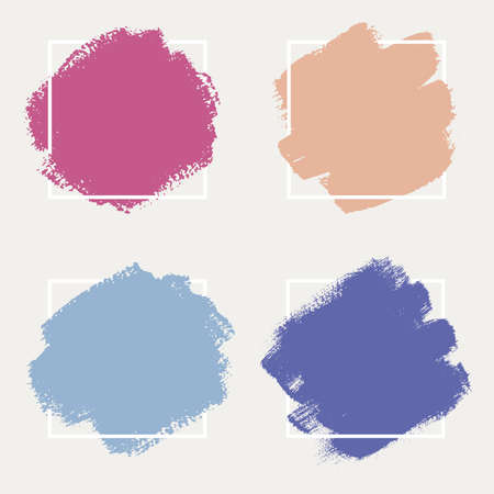 A set of abstract backgrounds. Ink brush strokes with uneven edges. Illustration with a dry brush. 向量圖像