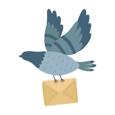 Flying post pigeon with a letter isolated on background.